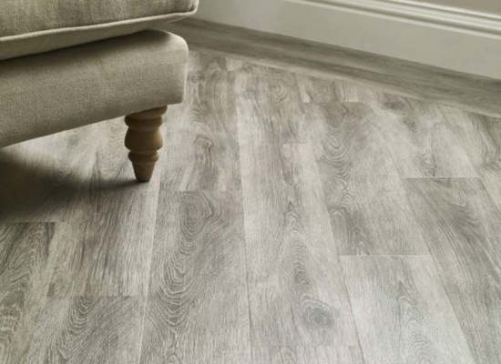 Close up of Amtico floor installation in Lounge