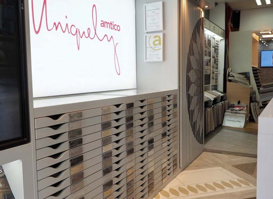 Amtico sign in Chelsfield Flooring showroom